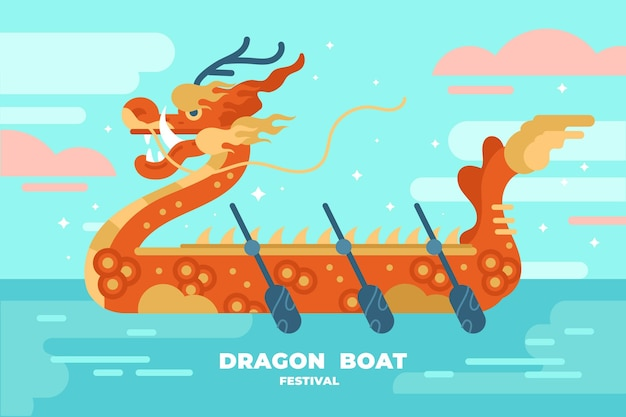 Dragon boat background in flat design
