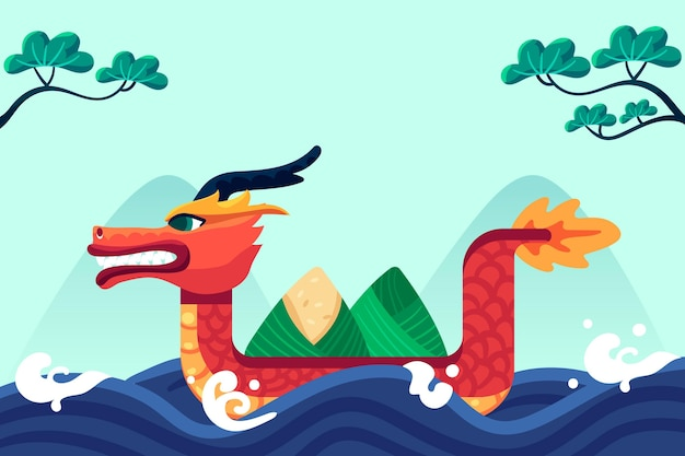 Dragon boat background flat design