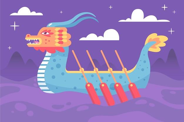 Лодка дракона фон в ночи