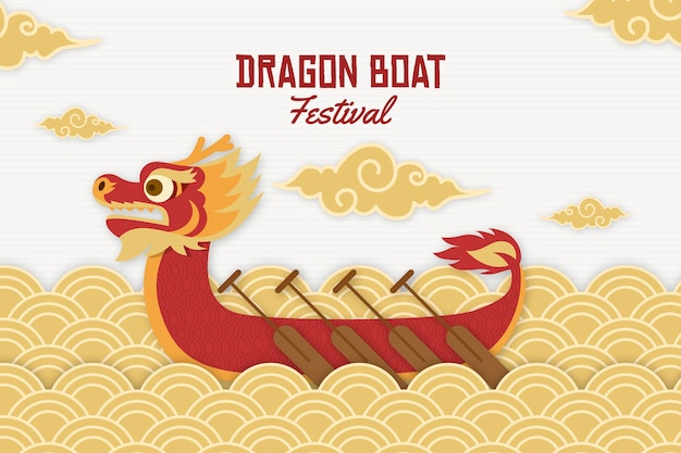 Dragon boat background in paper style