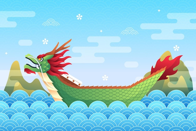 Dragon boat background style