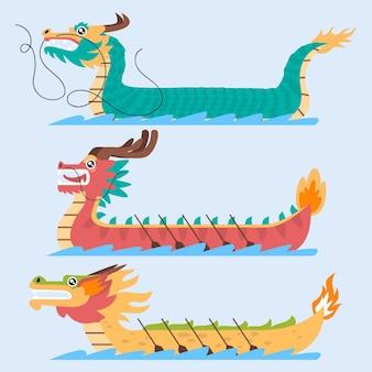 Дизайн коллекции лодок-драконов