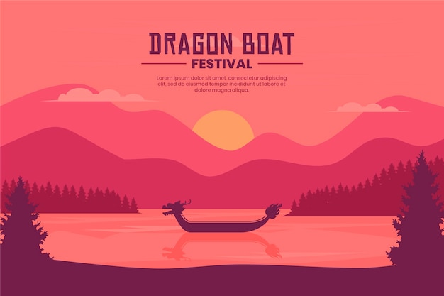 Dragon boat decorative wallpaper
