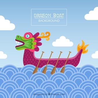 Праздник лодок-драконов фон в плоский дизайн