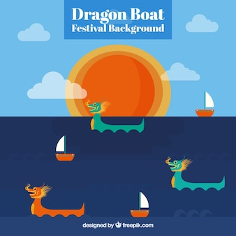 Dragon boat festival background with sun and clouds