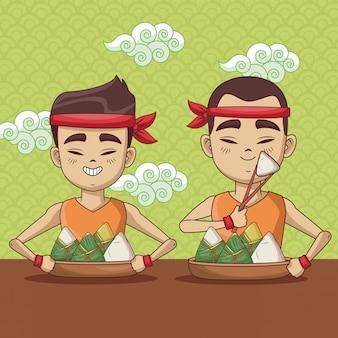 용 보트 축제 만화 디자인