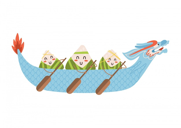 Dragon boat festival dumplings characters with oars in hand in beautiful blue boat. flat illustration isolated on white background.