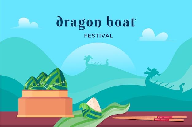 Праздник лодок-драконов плоский дизайн фона