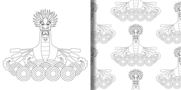 Dragon boat festival print and seamless pattern for textile and t shirt print asian   coloring page
