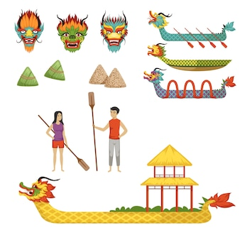 Dragon boat festival set of colorful illustrations on a white background