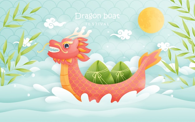 Dragon boat festival with rich dumplings, colorful sky background.  illustration.