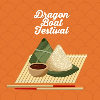 드래곤 보트 Festivall 음식 쌀 만두와 젓가락 프리미엄 벡터
