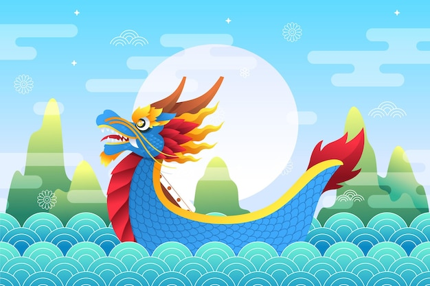 Dragon boat flat design background