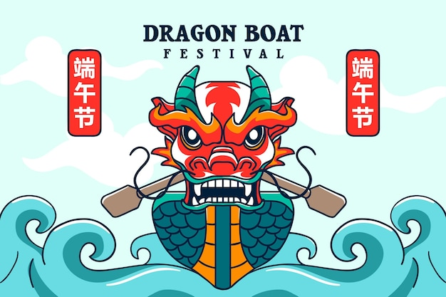 Dragon boat front view and ocean waves background