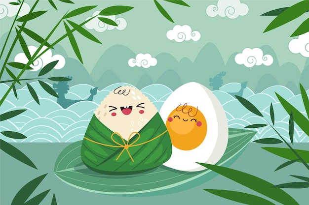 Dragon boat's zongzi background