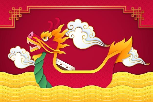Обои лодка дракона в бумажном стиле