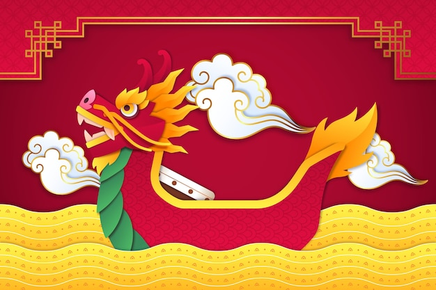 Dragon boat wallpaper in paper style