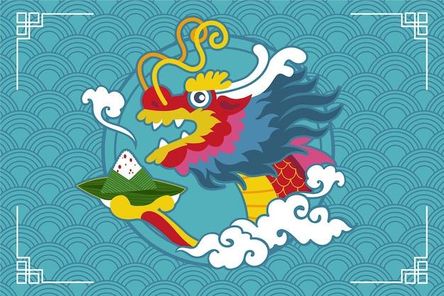 Dragon boat zongzi background concept