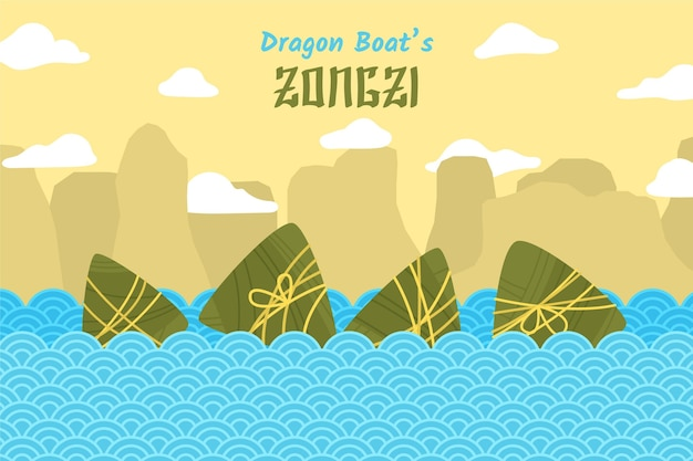 Dragon boats zongzi background design
