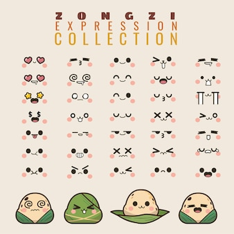 Dragon boats zongzi collection emoticon in in different expressions Premium Vector