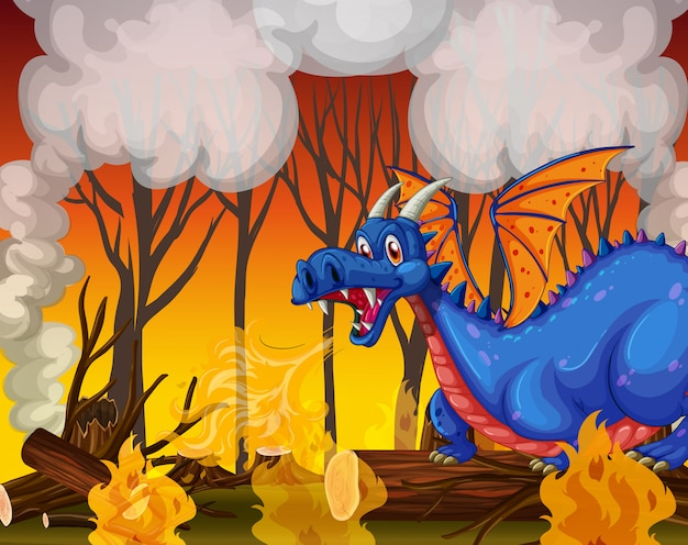 Dragon buring the forest