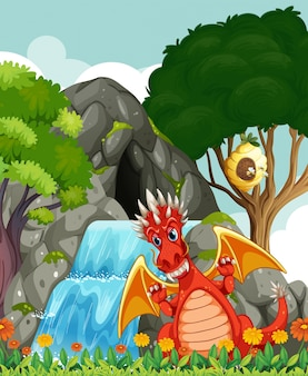 Dragon by the waterfall and cave