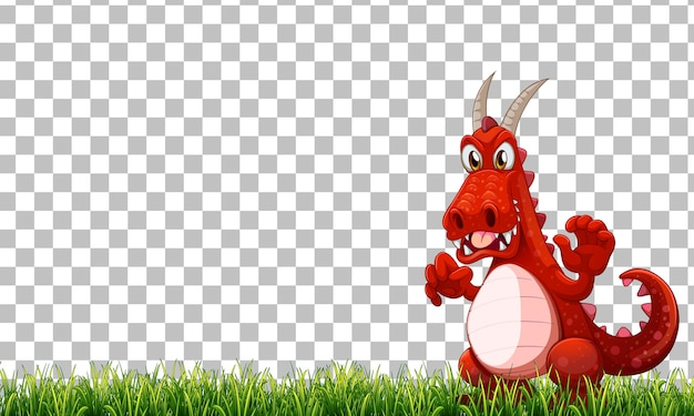 Dragon cartoon character on green grass on transparent background