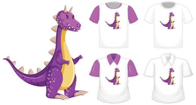 Dragon cartoon character logo on different white shirt with purple short sleeves isolated on white background