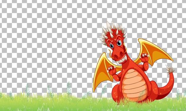 透明な背景の緑の草の上のドラゴンの漫画のキャラクター