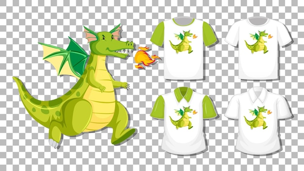 Dragon cartoon character with set of different shirts isolated on transparent background