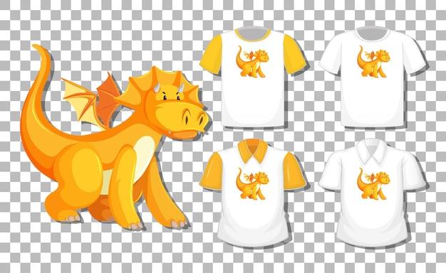 Personaggio dei cartoni animati del drago con set di camicie diverse isolato su trasparente
