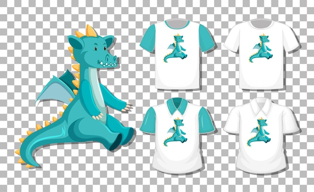 Dragon cartoon character with set of different shirts isolated on transparent