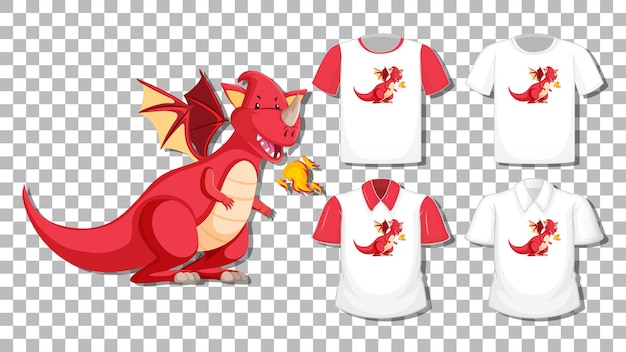Dragon cartoon character with set of different shirts isolated