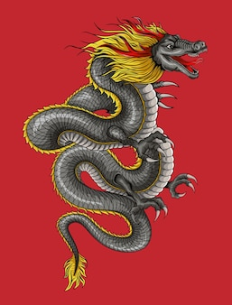 Dragon cartoon illustration. chinese asian fantasy and animal