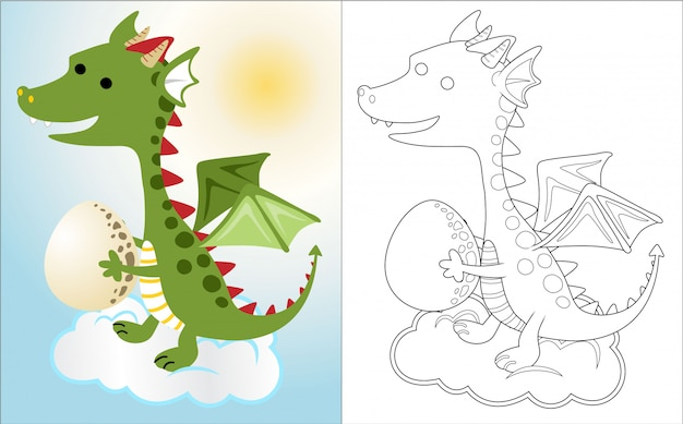 Dragon cartoon in the sky with egg,