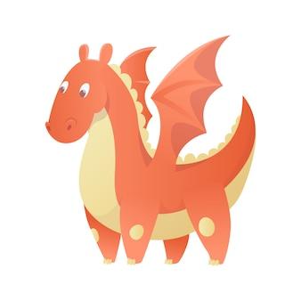 Dragon cartoon vector cute dragonfly dino character baby dinosaur for kids fairytale dino illustration