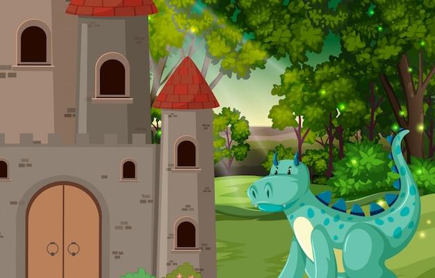 Dragon at the castle scene illustration