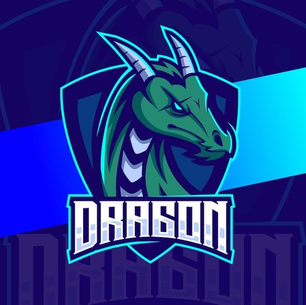 Дизайн логотипа киберспорта талисмана персонажа дракона