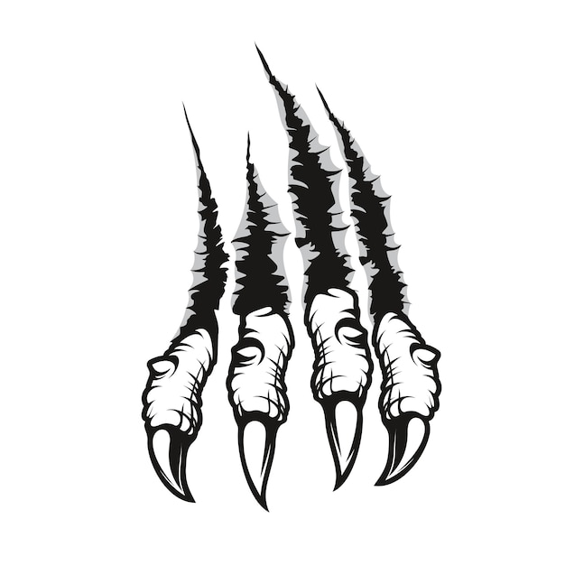 Dragon claw marks scratches, monster hardened fingers with long nails tear through wall. vector wild animal rips, paw sherds, beast break, four talons traces or marks isolated on white background