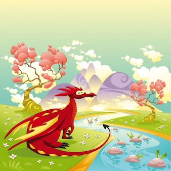 Dragon in the courtry design