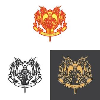 Dragon crest emblem vector