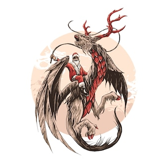 Dragon deer santa claus illustration