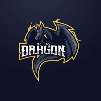 ドラゴンeスポーツマスコットロゴデザイン。怒っている黒いドラゴン