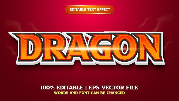 Dragon editable text effect template style