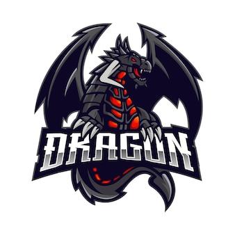 ドラゴンeスポーツマスコットロゴデザインベクトル