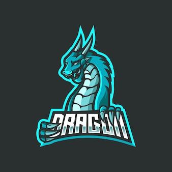 ドラゴンeスポーツマスコットロゴデザイン。