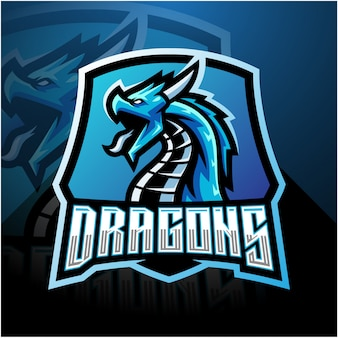 Dragon esport mascot logo with shield
