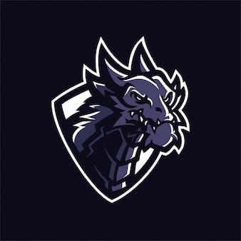 Шаблон логотипа эмблемы dragon esport