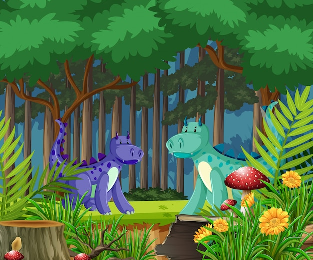 Dragon in the fairy tale forest