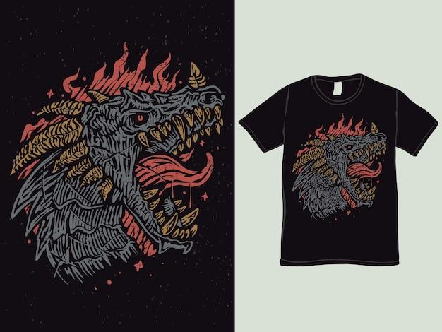 드래곤 파이어 브레스 티셔츠 디자인